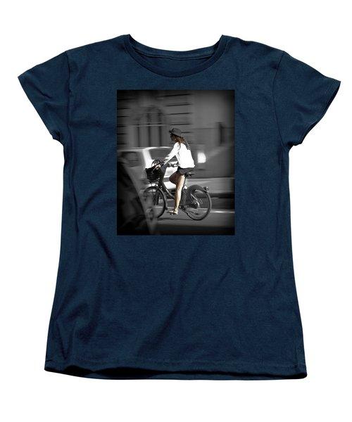 Parisian Girl Cyclist Women's T-Shirt (Standard Cut) by Maj Seda