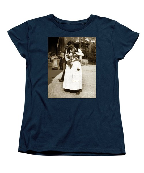 Women's T-Shirt (Standard Cut) featuring the photograph Parisian Woman Lady Paris France 1900 Historical Photo by California Views Mr Pat Hathaway Archives