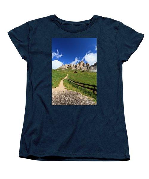 Women's T-Shirt (Standard Cut) featuring the photograph path in Gardena pass by Antonio Scarpi