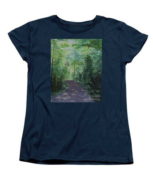 Women's T-Shirt (Standard Cut) featuring the painting Path To The River by Martin Howard