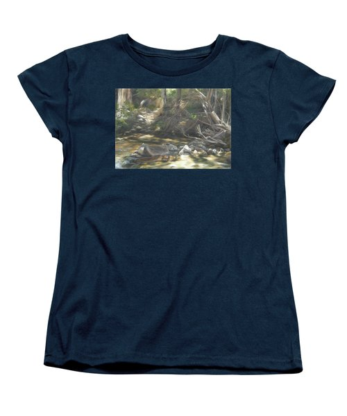 Women's T-Shirt (Standard Cut) featuring the painting Peace At Darby by Lori Brackett