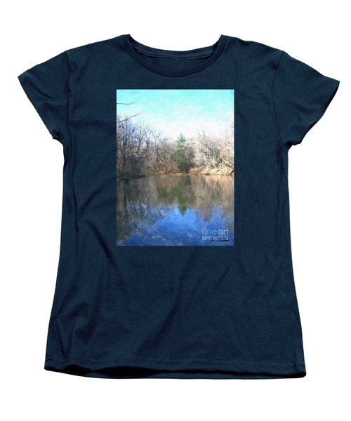Women's T-Shirt (Standard Cut) featuring the painting Peaceful Retreat 2 by Sara  Raber