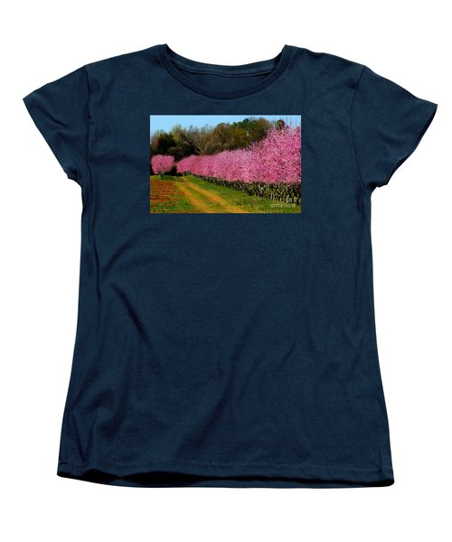 Women's T-Shirt (Standard Cut) featuring the photograph Peach Orchard In Carolina by Lydia Holly