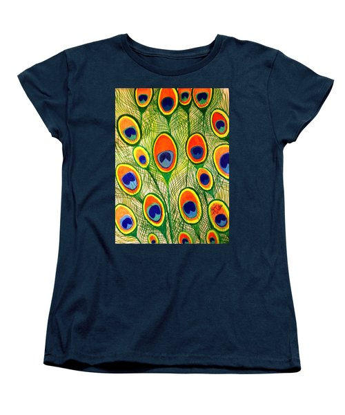 Peacock Feather Frenzy Women's T-Shirt (Standard Cut) by Renee Michelle Wenker