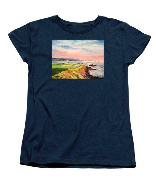 Pebble Beach Golf Course Hole 7 Women's T-Shirt (Standard Cut) by Bill Holkham