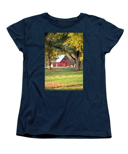 Women's T-Shirt (Standard Cut) featuring the photograph Pecan Orchard Barn by Gordon Elwell