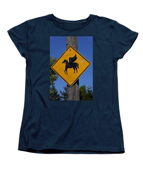 Pegasus Road Sign Women's T-Shirt (Standard Cut) by Garry Gay