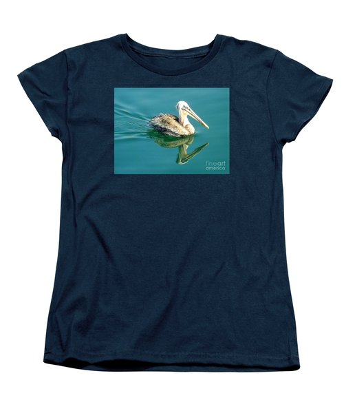 Women's T-Shirt (Standard Cut) featuring the photograph Pelican In San Francisco Bay by Clare Bevan