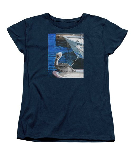 Women's T-Shirt (Standard Cut) featuring the painting Pelican On A Boat by Ian Donley