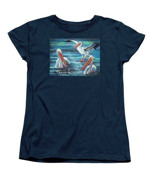 Women's T-Shirt (Standard Cut) featuring the pastel Pelican Profile by Peter Suhocke
