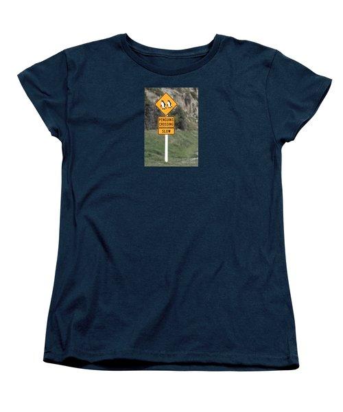 Women's T-Shirt (Standard Cut) featuring the photograph Penguins Crossing Oamaru by Nareeta Martin