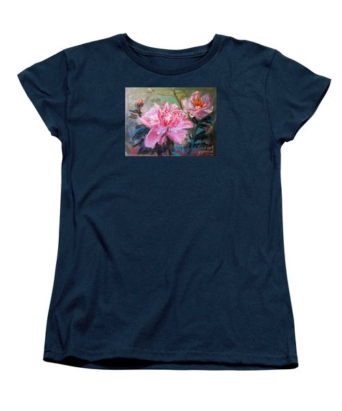 Women's T-Shirt (Standard Cut) featuring the painting Peony by Jieming Wang