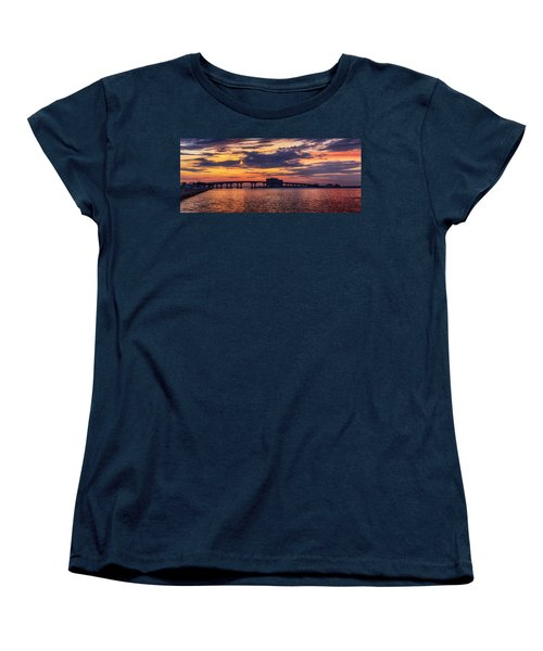 Women's T-Shirt (Standard Cut) featuring the digital art Perdido Bridge Sunrise by Michael Thomas