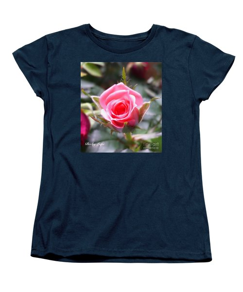 Perfect Rosebud In True Color Women's T-Shirt (Standard Cut) by Becky Lupe