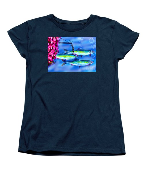 Petunia's And Sky Fish Bubbles Women's T-Shirt (Standard Cut) by Patricia L Davidson