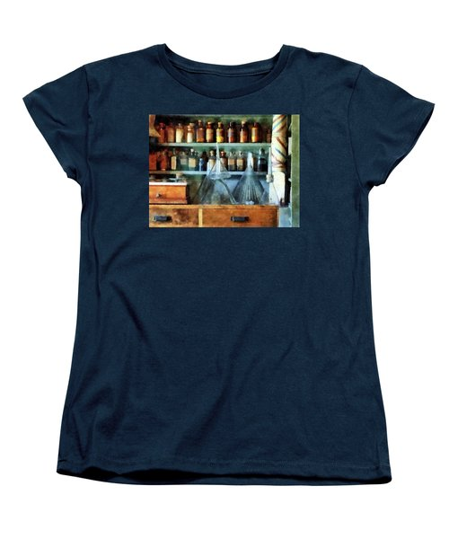 Women's T-Shirt (Standard Cut) featuring the photograph Pharmacist - Glass Funnels And Barber Pole by Susan Savad
