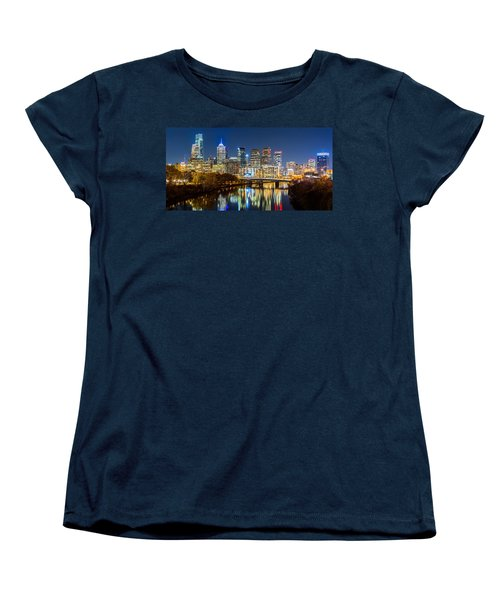 Philadelphia Cityscape Panorama By Night Women's T-Shirt (Standard Cut) by Mihai Andritoiu
