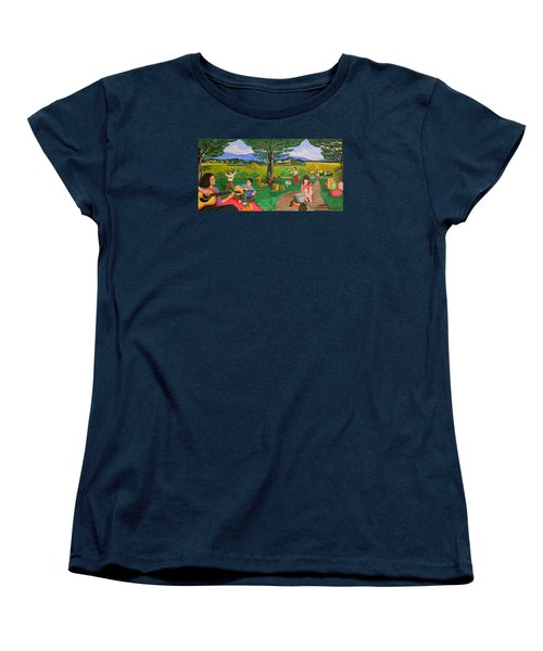Picnic With The Farmers And Playing Melodies Under The Shade Of Trees Women's T-Shirt (Standard Cut) by Lorna Maza