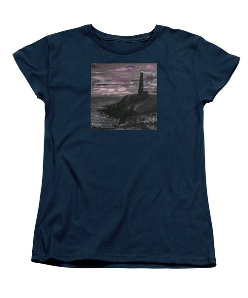 Women's T-Shirt (Standard Cut) featuring the painting Pigeon Lighthouse Impasto Sunset Monochromatic by Ian Donley