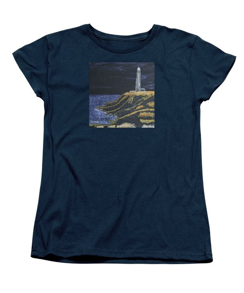 Women's T-Shirt (Standard Cut) featuring the painting Pigeon Lighthouse Night Scumbling Complementary Colors by Ian Donley