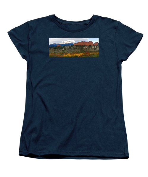 Women's T-Shirt (Standard Cut) featuring the photograph Pikes Peak Fall Pano by Ronda Kimbrow