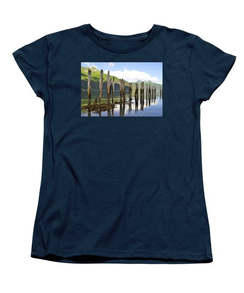 Women's T-Shirt (Standard Cut) featuring the photograph Pilings by Cathy Mahnke