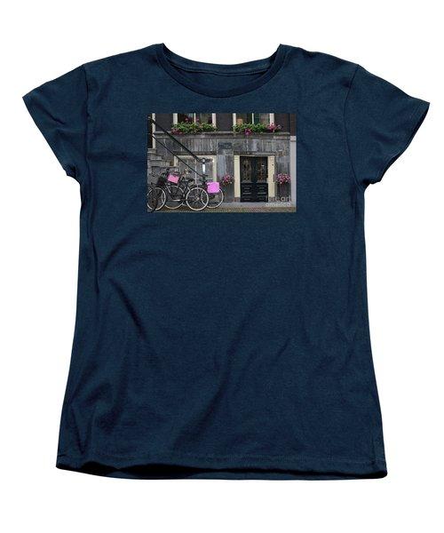 Pink Bikes Of Amsterdam Women's T-Shirt (Standard Cut) by Mary-Lee Sanders