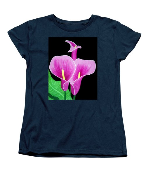 Pink Calla Lillies 2 Women's T-Shirt (Standard Cut) by Angelina Vick