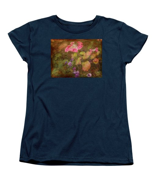 Pink Hydrangea And Purple Pansies Women's T-Shirt (Standard Cut)