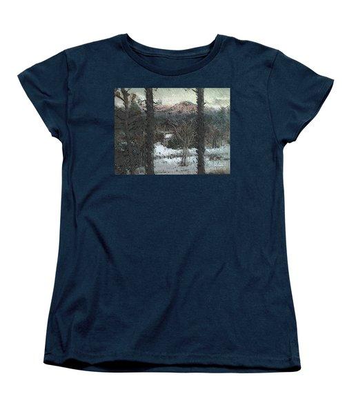 Women's T-Shirt (Standard Cut) featuring the painting Snow - Pink Mountain - Blueridge Mountains by Jan Dappen