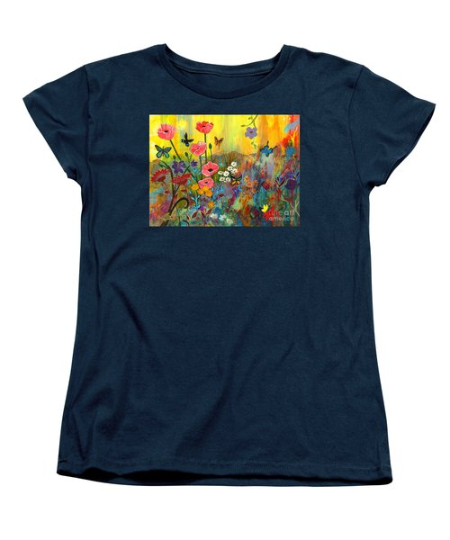 Women's T-Shirt (Standard Cut) featuring the painting Pink Poppies In Paradise by Robin Maria Pedrero
