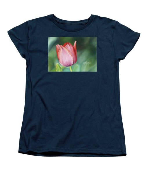 Women's T-Shirt (Standard Cut) featuring the painting Pink Tulip by Joshua Martin