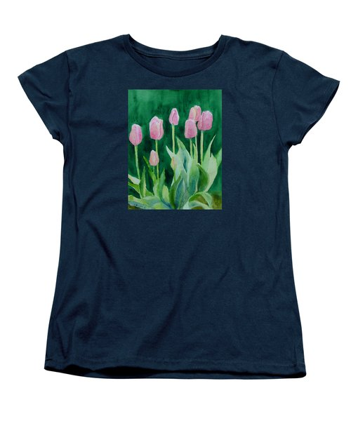 Pink Tulips Colorful Flowers Garden Art Original Watercolor Painting Artist K. Joann Russell Women's T-Shirt (Standard Cut) by Elizabeth Sawyer