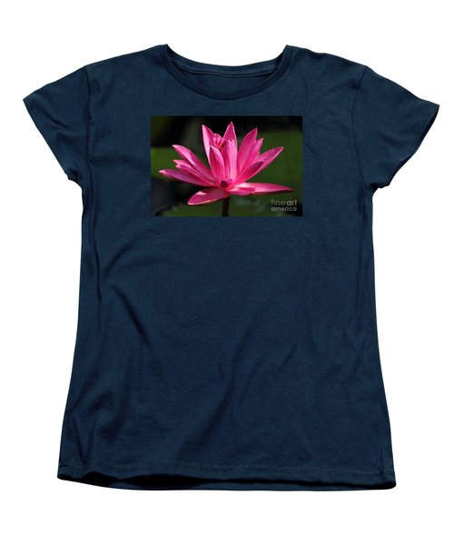 Pink Water Lily Women's T-Shirt (Standard Cut) by Meg Rousher