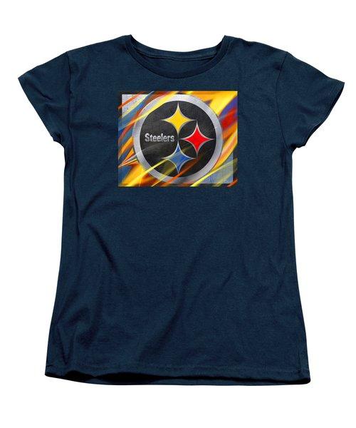 Pittsburgh Steelers Football Women's T-Shirt (Standard Cut) by Tony Rubino