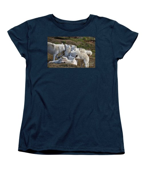 Women's T-Shirt (Standard Cut) featuring the photograph Playful Pack by Wolves Only
