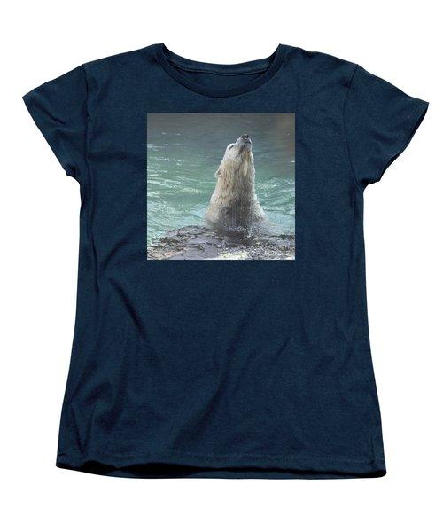 Polar Bear Jumping Out Of The Water Women's T-Shirt (Standard Cut) by John Telfer