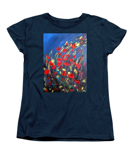 Women's T-Shirt (Standard Cut) featuring the painting Poppies Field On A Windy Day by Dorothy Maier