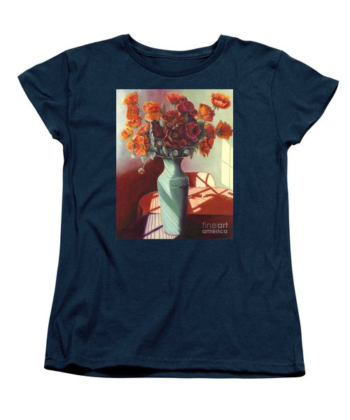 Women's T-Shirt (Standard Cut) featuring the painting Poppies by Marlene Book