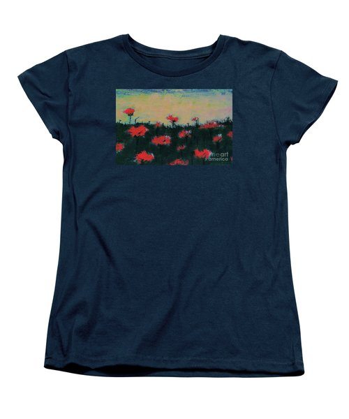 Women's T-Shirt (Standard Cut) featuring the painting Poppy Field by Jacqueline McReynolds
