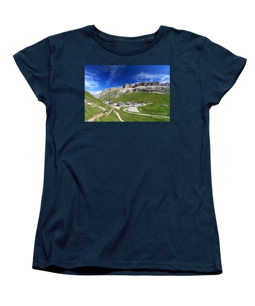 Pordoi Pass And Mountain Women's T-Shirt (Standard Cut) by Antonio Scarpi