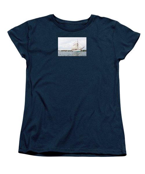 Juan Sebastian De Elcano Famous Tall Ship Of Spanish Navy Visits Port Mahon In Front Of Bloody Islan Women's T-Shirt (Standard Cut) by Pedro Cardona