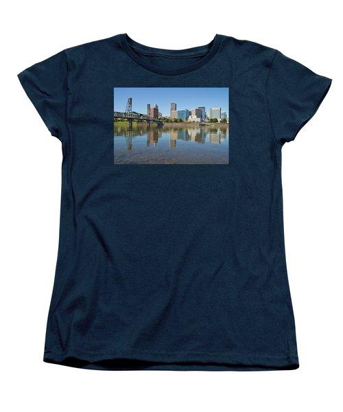 Women's T-Shirt (Standard Cut) featuring the photograph Portland Downtown Skyline And Hawthorne Bridge by JPLDesigns