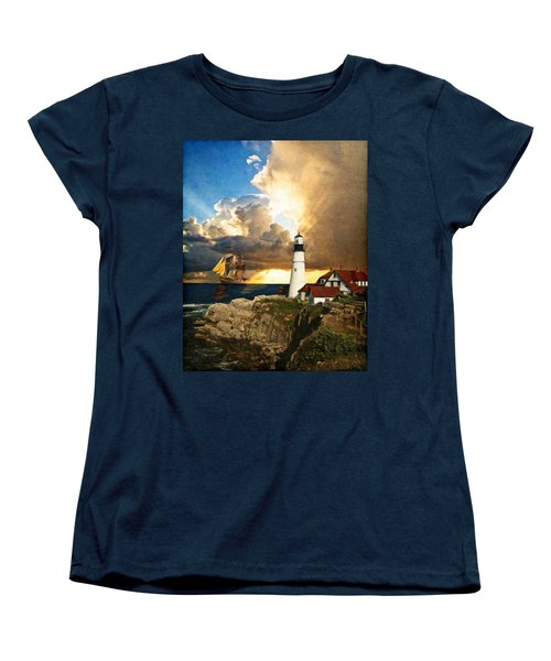 Portland Head Lighthouse Women's T-Shirt (Standard Cut) by Lianne Schneider
