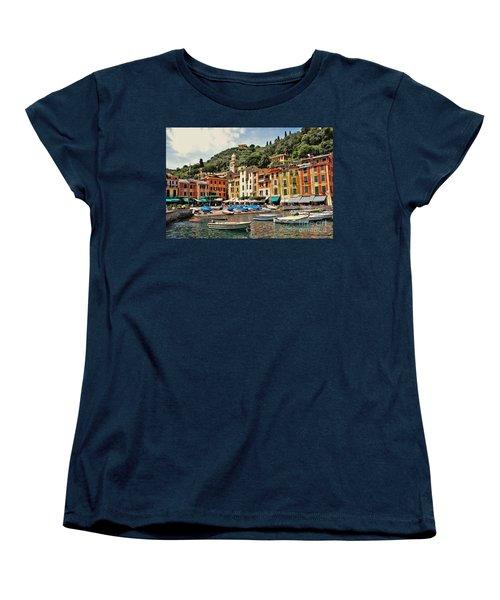 Portofino Harbor 2 Women's T-Shirt (Standard Cut) by Allen Beatty