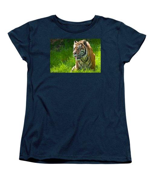 Portrait Of A Sumatran Tiger Women's T-Shirt (Standard Cut) by Jeff Goulden