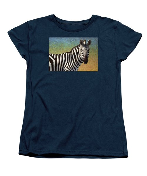 Women's T-Shirt (Standard Cut) featuring the painting Portrait Of A Zebra by James W Johnson