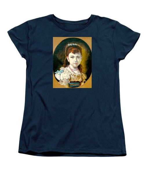 Women's T-Shirt (Standard Cut) featuring the painting Portrait Of Little Girl by Henryk Gorecki