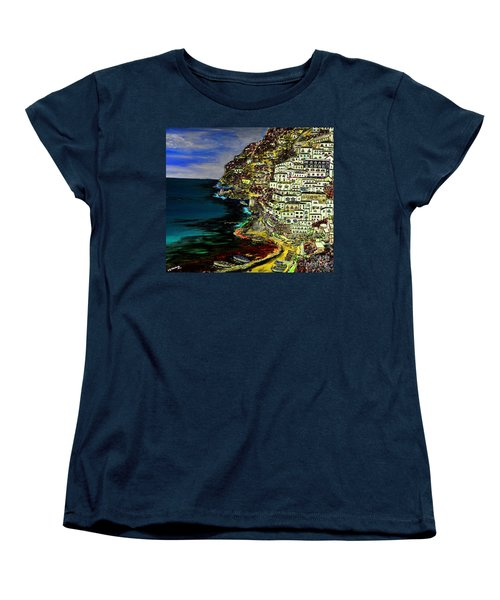 Positano At Night Women's T-Shirt (Standard Cut) by Loredana Messina