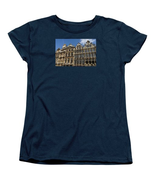 Women's T-Shirt (Standard Cut) featuring the photograph Postcard From Brussels - Grand Place Elegant Facades by Georgia Mizuleva